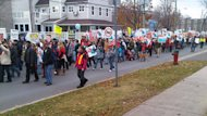 More than 200 protesters walked in downtown Fredericton Saturday protesting hydro-fracking.
