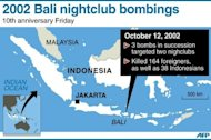 Map of Indonesia locating the nightclub bombings in Bali that killed 164 foreigners and 38 Indonesians in 2002. Hundreds of survivors and relatives of the dead have paid tearful tributes to the 202 people killed in the Bali bombings 10 years ago, when Islamist extremists unleashed terror on partying tourists