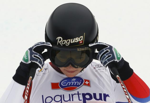 Lara Gut of Switzerland reacts after the women's FIS Alpine Skiing World Cup Downhill race in Crans Montana
