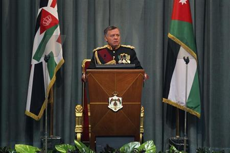 Jordan's King Abdullah speaks during the opening of the 17th Ordinary Session of Parliament in Amman