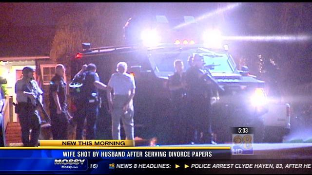 Wife shot by husband after serving divorce papers