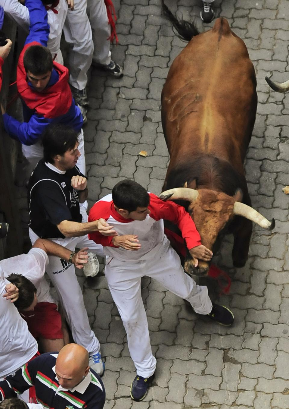 Reveler runs on the Callejon way beside a Cebada Gago ranch fighting bull, during the third running of the bulls at the San Fermin fiestas, in Pamplona northern Spain, Monday, July 9, 2012. (AP Photo/Alvaro Barrientos)