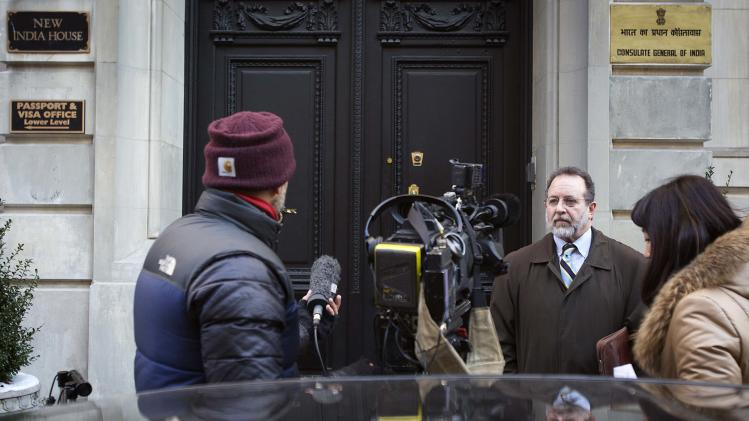 Arshack, lawyer of Khobragade, speaks to Reuters TV in front of the Indian Consulate building in New York