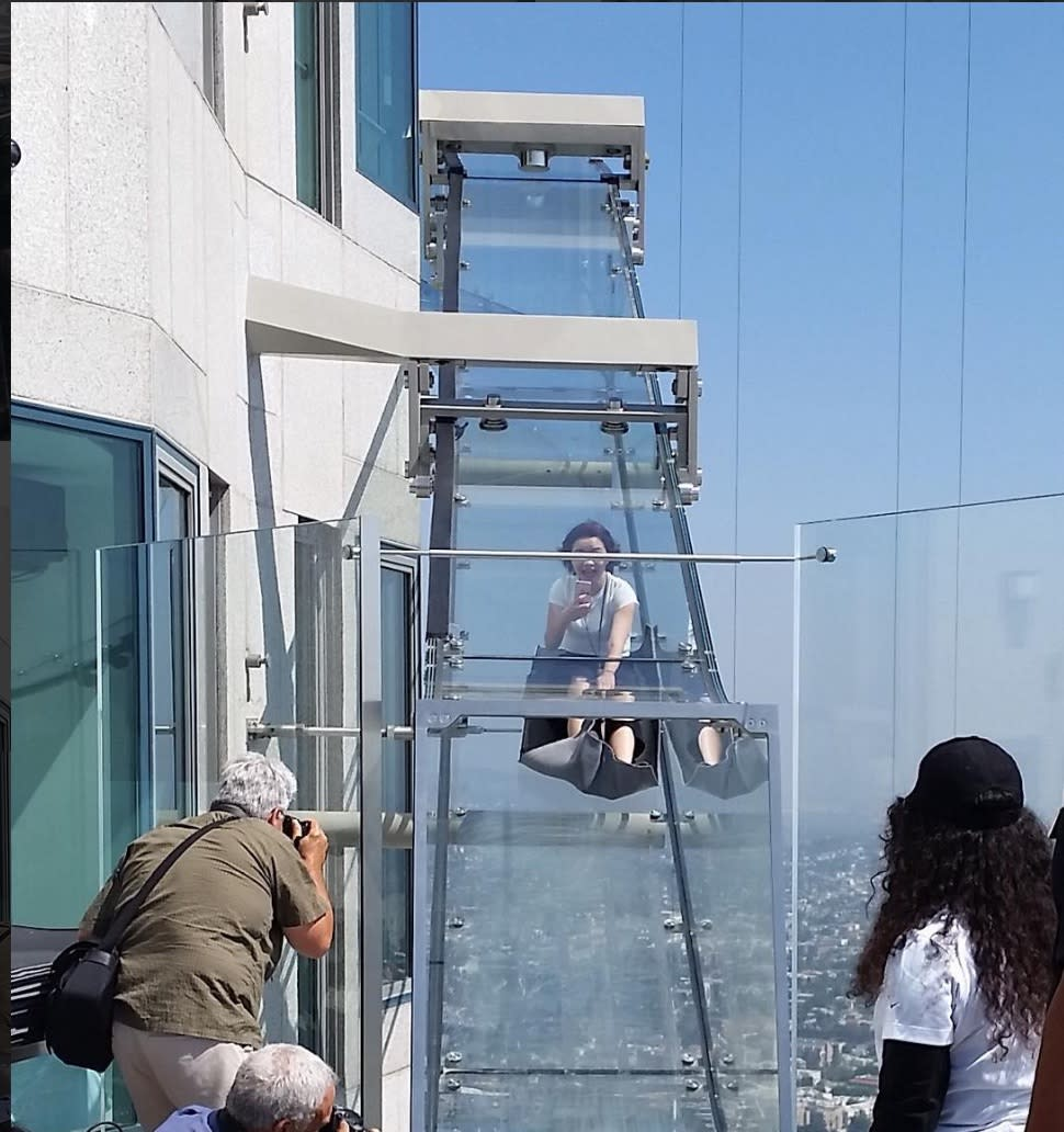 A glass slide 1,000 feet in the air just opened in Los Angeles and people are freaking out