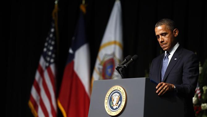 President Barack Obama speaks at the memorial for firefighters killed at the fertilizer plant explosion in West, Texas, at Baylor University in Waco, Texas, Thursday, April 25, 2013. (AP Photo/Charles Dharapak)