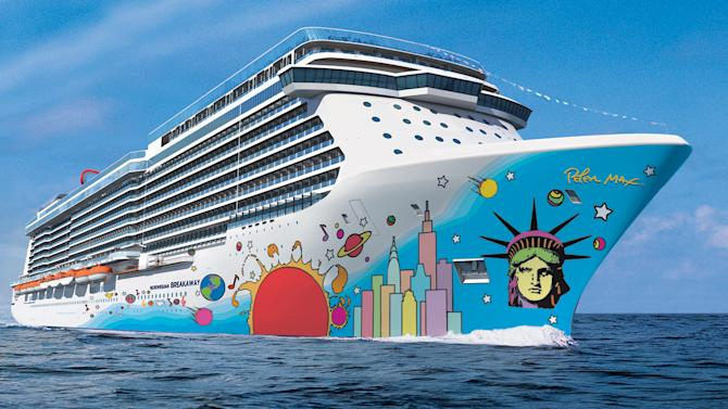 This undated artist's rendering provided by Norwegian Cruise Line shows the exterior of the Norwegian Breakaway. The ship's hull features the unmistakable pop art of Peter Max, with Lady Liberty's face and a city skyline anchoring the brightly colored design. The ship will carry 4,028 guests and will be the largest ever to homeport year-round in New York City, beginning in May. It's considered one of the hottest new cruise ships coming out this year.  (AP Photos/Norwegian Cruise Line)