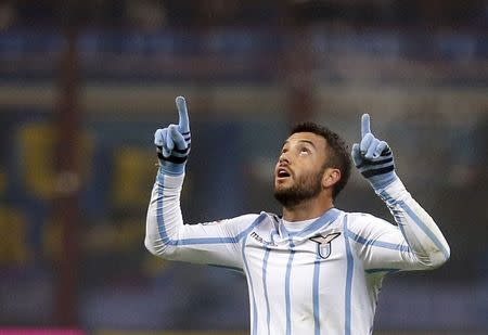 Lazio's Felipe Anderson celebrates after scoring a second goal against Inter Milan during their Italian Serie A soccer match in Milan