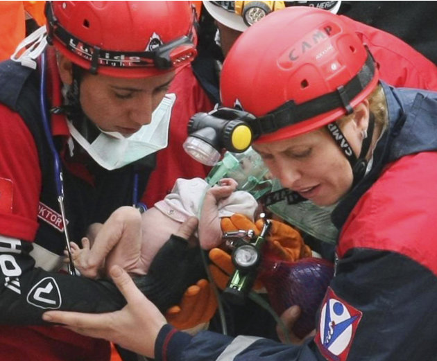 Turkish rescuers carry Azra …