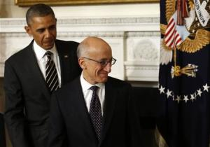 U.S. President Barack Obama and his nominee for Chairman of the CFTC Tim Massad depart after the announcement at the White House in Washington