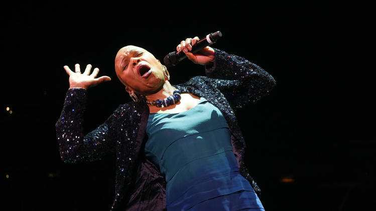 FILE - In this Oct. 26, 2008 file photo, Dee Dee Bridgewater performs at The Blues & Jazz Gala Concert at the Kodak Theatre in Los Angeles. (AP Photo/Mark Mainz, file)