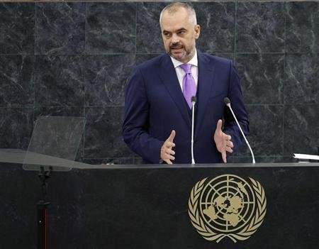 Albania's Prime Minister Edi Rama addresses the 68th United Nations General Assembly at the U.N. headquarters in New York September 28, 2013. REUTERS/Adam Hunger