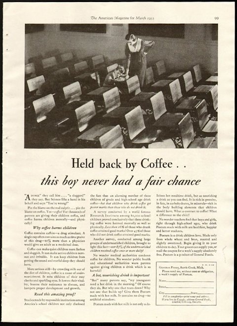 Postum Ad Coffee Stunts Growth