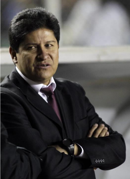 Eduardo Villegas, coach of Bolivia's The Strongest is seen during a match against Velez Sarsfield of Argentina during their Copa Libertadores soccer match in La Paz