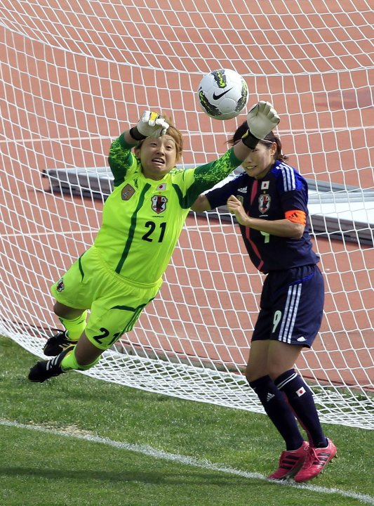Japan's goalkeeper Fubuki Kuno makes a save during their women's Algarve Cup soccer match in Parchal southern Portugal