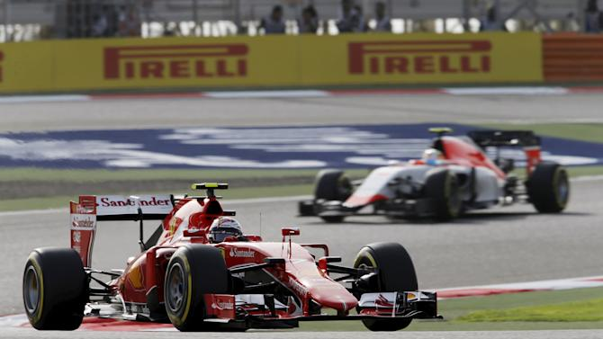 Ferrari Formula One Driver Kimi Raikkonen of Finland drives during the third free practice ahead of Bahrain's F1 Grand Prix at Bahrain International Circuit, south of Manama