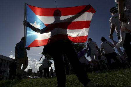 A protester holding a Puerto Rico's flag takes part in a march to improve healthcare benefits in San Juan