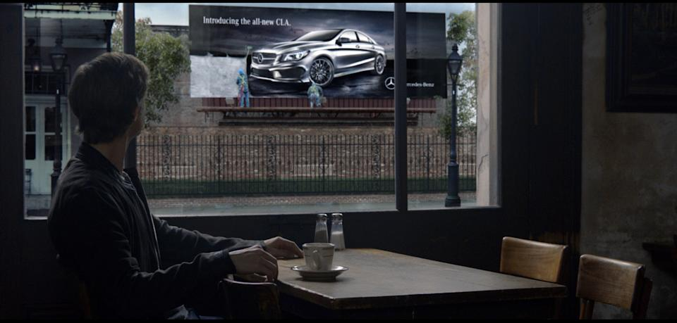 "This undated screenshot provided by Mercedes Benz shows the Super Bowl advertisement for the company. The majority of the 30-plus Super Bowl advertisers have been releasing their ads in the days leading up to the game, advertising fans already can catch a glimpse of ""Spider-Man"" actor Willem Dafoe in a Mercedes-Benz ad. (AP Photo/Mercedes Benz)"