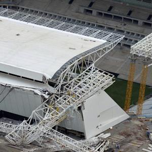 Crane collapse at Brazil stadium caught on video