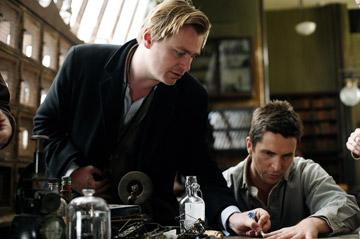 Director Christopher Nolan and Christian Bale on the set of Touchstone Pictures' The Prestige
