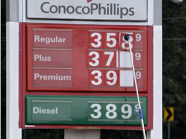 FILE-In this Monday, Sept. 24, 2012, file photo, a man changes fuel prices at a ConocoPhillips gas station in Little Rock, Ark. The price of oil fell to its lowest point in nearly two months Tuesday as persistent worries about the global economy overshadowed encouraging reports about U.S. consumer confidence and housing prices. (AP Photo/Danny Johnston)