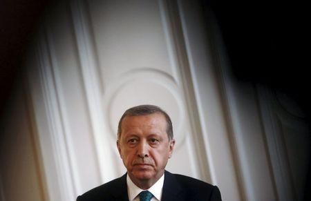 Turkey's President Tayyip Erdogan looks on during a news conference in Sarajevo