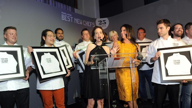 IMAGE DISTRIBUTED FOR FOOD & WINE - FOOD & WINE's editor in chief Dana Cowin, center left, and publisher Christina Grdovic, center right, present the 2013 class of Best New Chefs at the FOOD & WINE Best New Chefs 25th anniversary celebration, at Pranna on Tuesday, April 2, 2013 in New York City, New York. (Photo by Diane Bondareff/Invision for FOOD & WINE/AP Images)