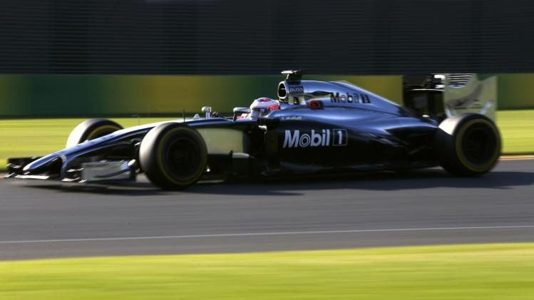 McLaren Formula One driver Button of Britain drives during the second practice session of the Australian F1 Grand Prix in Melbourne