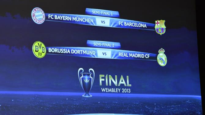 The group formations are shown on an electronic panel after the draw of the games of the UEFA Champions League 2012/13 for the semi-finals and final of the 2012/13 UEFA headquarters in Nyon, Switzerland, Friday,11 April 2013. (AP Photo/Keystone/Martial Trezzini)