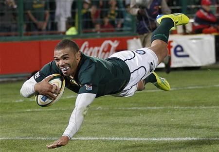 South Africa's Habana scores try during their Rugby Championship test match against Australia's Wallabies in Pretoria