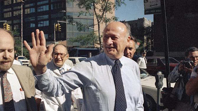 In this Aug. 13, 1987 file photo, New York Mayor Edward I. Koch waves to onlookers as he arrives at New York's Columbia Presbyterian Hospital Neurological Center. Koch died Friday, Feb. 1, 2013 from congestive heart failure, spokesman George Arzt said. He was 88. (AP Photo/David Bookstaver, file)
