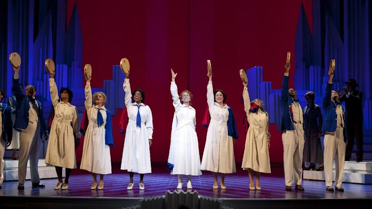 "This theater image released by The Publicity Office shows Carolee Carmello, center, during a performance of the musical ""Scandalous: The Life and Trials of Aimee Semple McPherson,"" at the Neil Simon Theatre in New York. (AP Photo/The Publicity Office, Jeremy Daniel)"