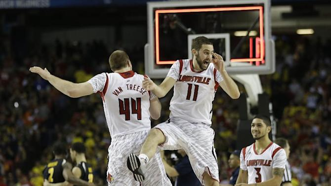 Louisville's Luke Hancock (11) Louisville's Peyton Siva (3) and Louisville's Stephan Van Treese (44) react after the second half of the NCAA Final Four tournament college basketball semifinal game against Wichita State Saturday, April 6, 2013, in Atlanta. Louisville won 72-68. (AP Photo/John Bazemore)