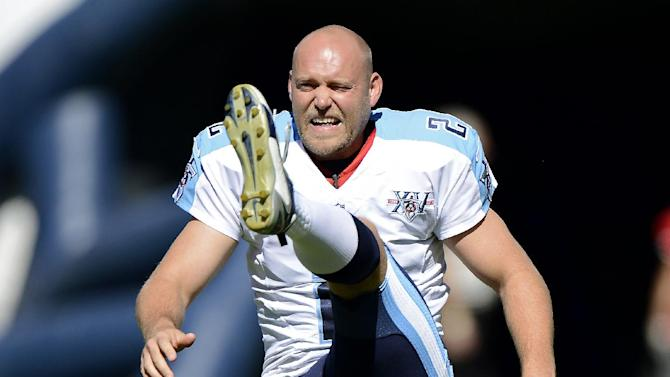 In this Sept. 22, 2013 file photo, then Tennessee Titans kicker Rob Bironas warms up before an NFL football game between the Titans and the San Diego Chargers in Nashville, Tenn. Bironas died Saturday night, Sept. 20, 2014 after a car accident near his Nashville home, according to police