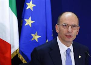 Italy's Prime Minister Letta holds a news conference at the end of a European Union leaders summit in Brussels