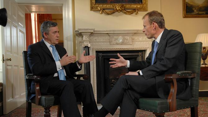 "FILE - Then British Prime Minister Gordon Brown, left,  talks with Andrew Marr of the BBC at 10 Downing Street in this Saturday Oct. 6, 2007 file photo. The BBC said Wednesday Jan 9 2013 that  Marr has suffered a stroke and is recovering in a hospital.  Marr hosts a popular eponymous Sunday morning show frequented by top British politicians and commentators, in addition to a Monday radio show called ""Start the Week.""  (AP Photo / Jeff Overs, File Pool)"