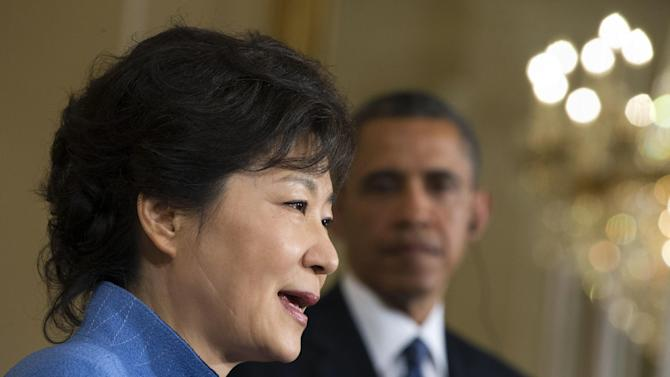 President Barack Obama listens as South Korea President Park Geun-Hye speaks during a news conference in the East Room of the White House in Washington, Tuesday, May 7, 2013. (AP Photo/Jacquelyn Martin)