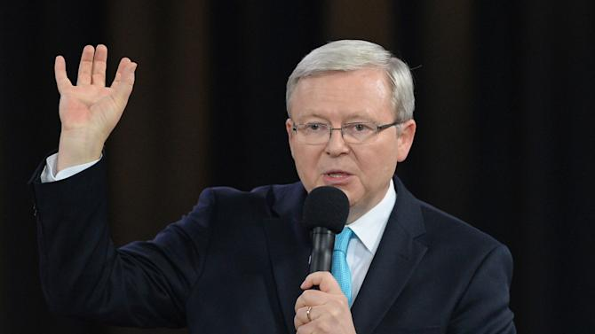 Australian Prime Minister Kevin Rudd speaks during a public forum in Sydney, Wednesday, Aug. 28, 2013. Australia will have national elections on Sept. 7. (AP Photo/Lukas Coch, Pool)
