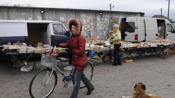 A woman goes to market in the village of Bobryk, some 60 km (37 miles) north of Kiev Ukraine, Saturday, Oct. 27, 2012.  Ukraine is scheduled to hold parliamentary elections on Oct. 28. (AP Photo/Sergei Chuzavkov)