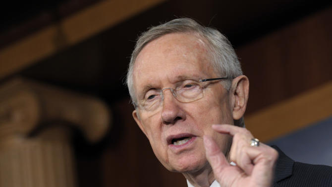Senate Majority Leader Harry Reid of Nev. gestures as he discusses Tuesday's election results during a news conference on Capitol Hill in Washington, Wednesday, Nov. 7, 2012. (AP Photo/Susan Walsh)