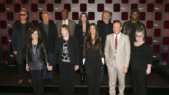 (Top L-R) Peter Fonda, Harrison Ford, Sidney Poitier, Cher, Kurt Russell, Samuel L. Jackson, (Bottom L-R) Sally Field, Shirley MacLaine, Demi Moore, Kevin Spacey and Kathy Bates attend the AFI Night at the Movies at the ArcLight on Wednesday, April 24, 2013 in Los Angeles. (Photo by Todd Williamson/Invision/AP)