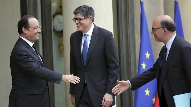 French President Hollande welcomes US Treasury Secretary Lew at the Elysee Palace in Paris