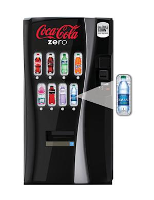 "This undated image provided by Coca-Cola shows a new soda vending machine the company announced Monday, Oct. 8, 2012, that they plan to roll out. The new vending machines are a response to the intensifying criticism over sugary sodas and will let customers see the calorie counts on selection buttons, and will urge consumers to choose less sugary alternatives with messages such as ""Try a Low-Calorie Beverage."" (AP Photo/Coca-Cola )"