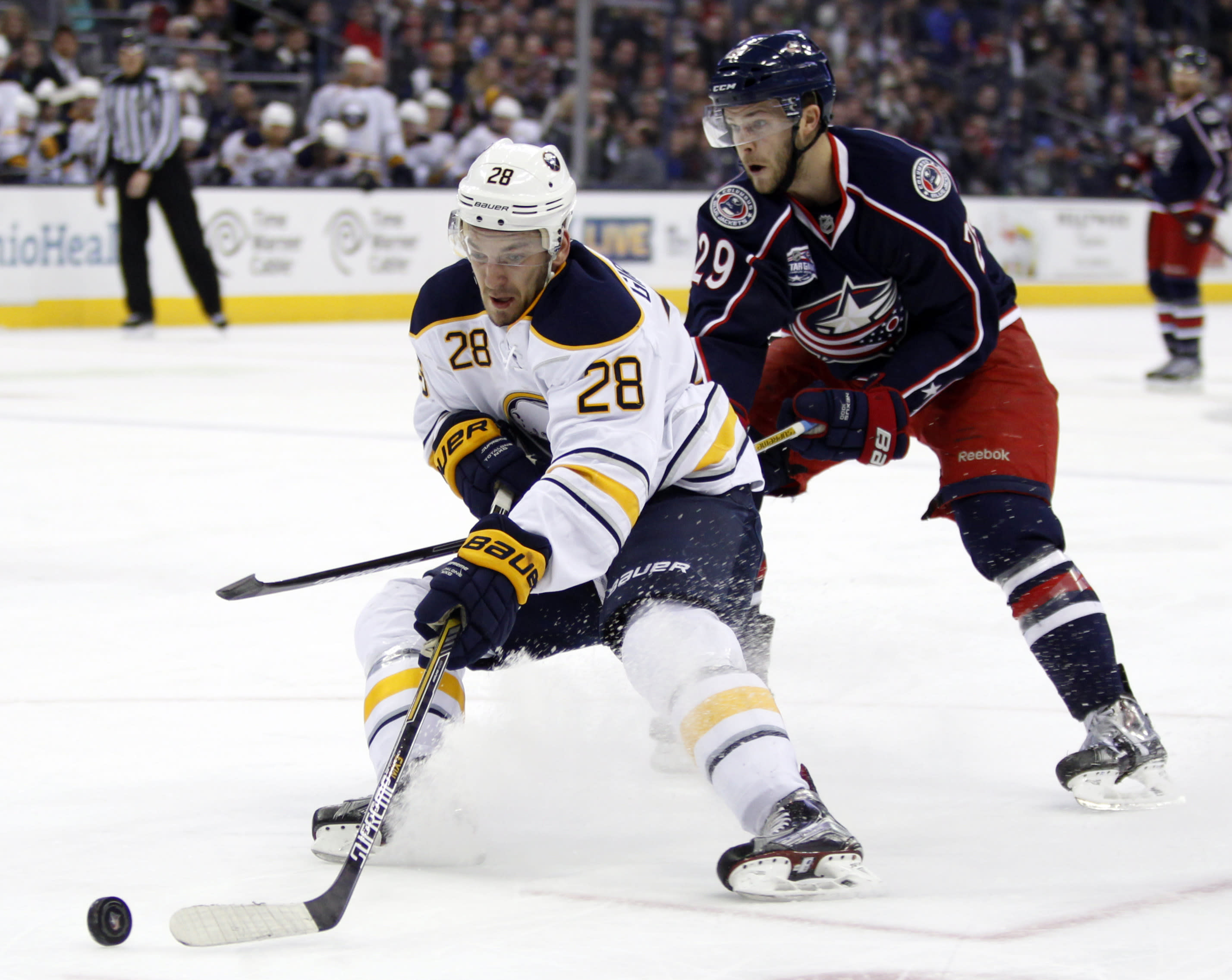 Girgensons powers Sabres' rare burst in 4-2 win over CBJ