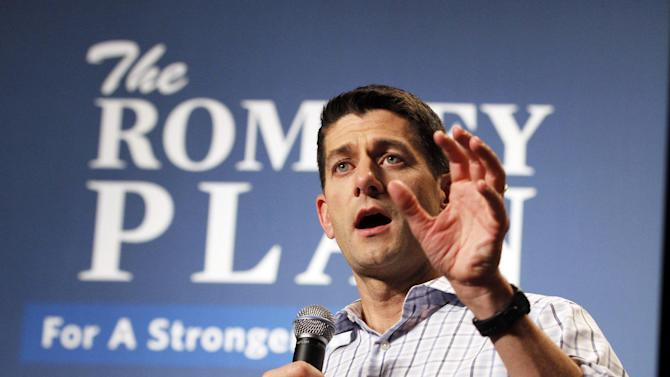 Republican vice presidential candidate, Rep. Paul Ryan, R-Wis., speaks at a campaign rally at Christopher Newport University in Newport News, Va., Tuesday, Sept. 18, 2012. (AP Photo/Steve Helber)