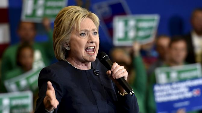 Democratic presidential candidate Hillary Clinton speaks during a campaign rally at the International Union of Painters and Allied Trades (IUPAT) training center in Henderson