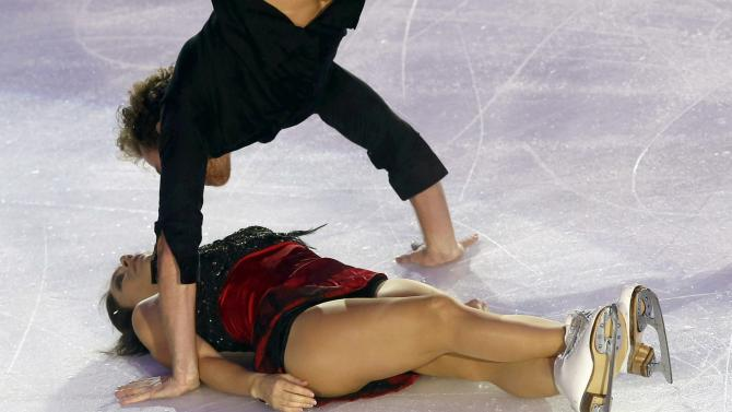 France's Nathalie Pechalat and Fabian Bourzat perform during the gala exhibition at the ISU Bompard Trophy Figure Skating event in Bordeaux