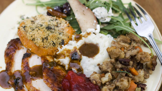 turkey with sage gravy, peach cranberry sauce, sour cream and chive ...