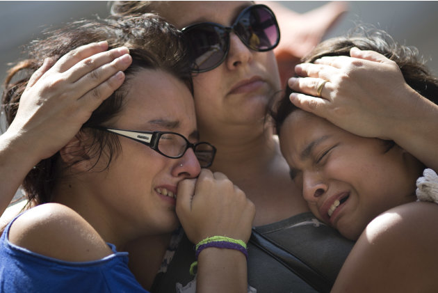 Girls cry in front of a makeshift memorial outside the Kiss nightclub where a fire killed over 230 people in Santa Maria, Brazil, Tuesday, Jan. 29, 2013. The repercussions of a tragic nightclub fire i