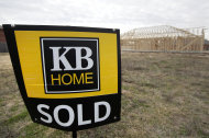 <p>               In this Dec. 18, 2011 photo, a sold lot sits next to a structure being constructed in a KB Home community, in Balch Springs, Texas. KB Home's fiscal fourth-quarter net income fell 20 percent on rising expenses, but its performance beat analysts' expectations and revenue climbed on an increase in home deliveries and a higher average selling price.  (AP Photo/Tony Gutierrez)