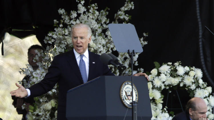 Vice President Joe Biden speaks at a memorial service for slain Massachusetts Institute of Technology campus officer, Sean Collier, at MIT in Cambridge, Mass. Wednesday, April 24, 2013. (AP Photo/Elise Amendola)